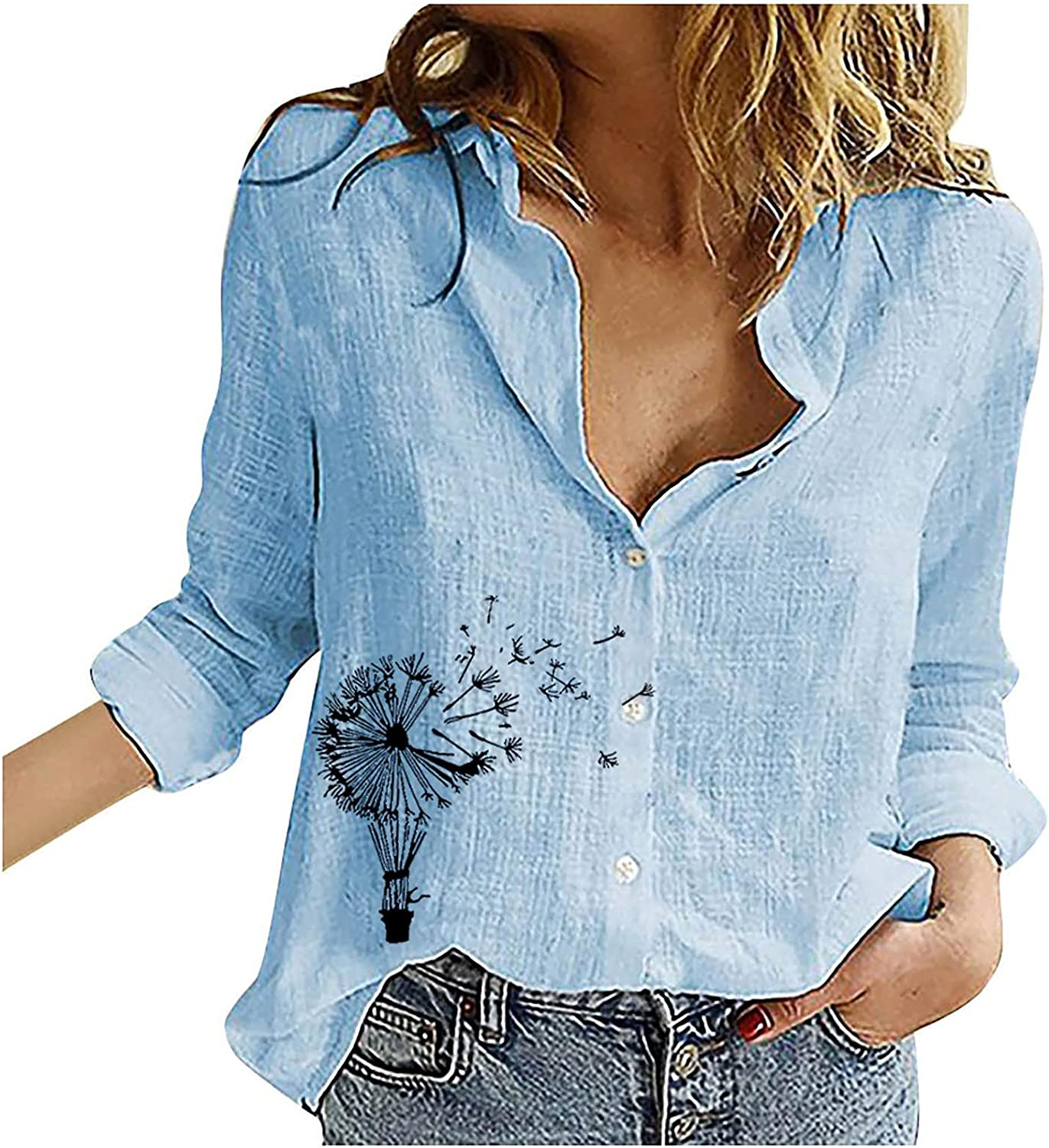 Fashion Women's Loose Buttons Printing Lapel Long Sleeves T-Shirts Blouse Tops Summer Tops Tee Shirts Blouse