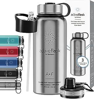 Drinkfles RVS Thermosfles ACTIVE FLASK + Strohalm (3 Drinkdoppen), BPA-Vrij + Lekvrij | 1 Liter/500 ml Isoleerfles, Vacuüm...