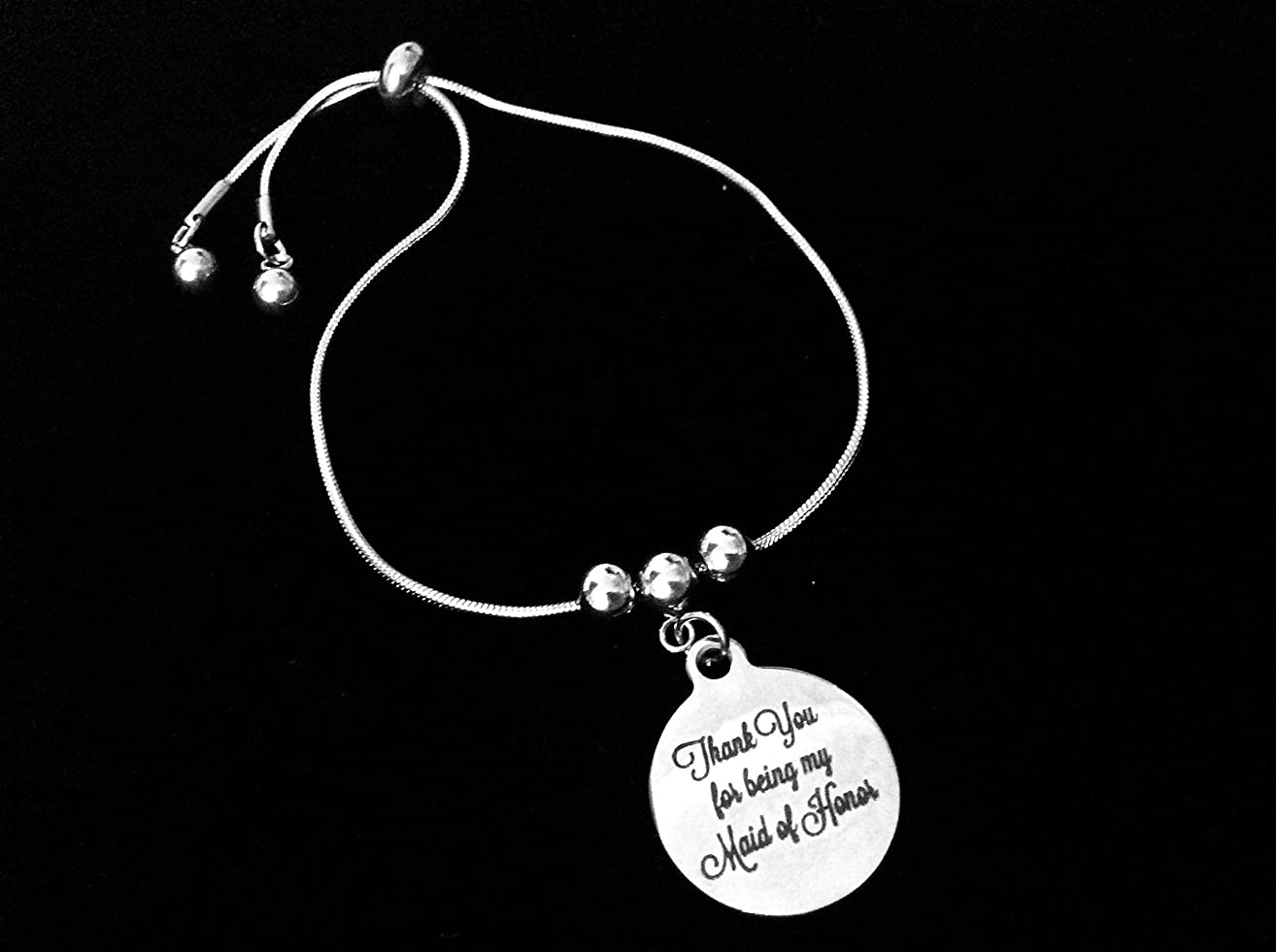 Thank You for Being My Maid Of Honor Bolo Bracelet Stainless Steel Adjustable Bracelet Slider Chain One Size Fits All Gift Wedding Party