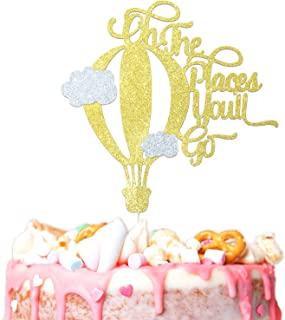Travel Cloud Cake Topper Happy Birthday Gold Glitter Hot Air Balloon Party Decorations Picks for Baby Shower Birthday Decor Supplies