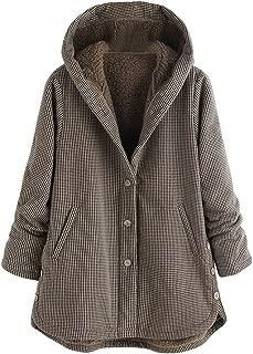 Women Winter Jacket Coat Hooded Vintage Plaid Plus Plush Thicken Warm Fleece Jacket Plus Size