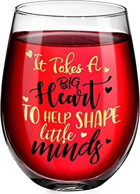 Teacher Appreciation Gifts, It Takes a Big Heart Wine Glass for Teachers, 17 oz Wine Glass Graduation Thank You Gift Ideas for Teacher's Birthday, Retirement, Christmas