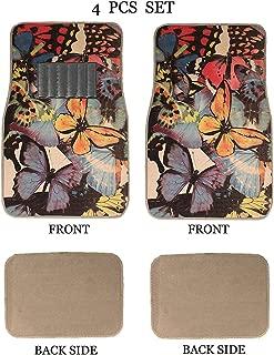 ALLBrand Universal Fit Front/Rear 4-Piece Full Set Sublimation Butterfly Print Custom Design Carpet Car SUV Truck Floor Mats (Golden Butterfly/Beige)
