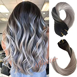 ombre black to grey extensions