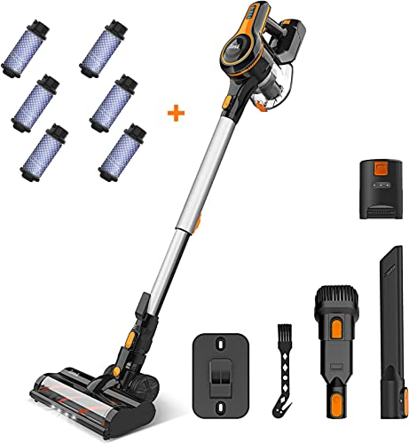 Cordless Vacuum Cleaner, 23Kpa Strong Suction Stick Vacuum with 45min Max Long Runtime Detachable Battery, Extra Large Dustbin, Powerful Brushless Motor - INSE S600 + 6pcs fitlers