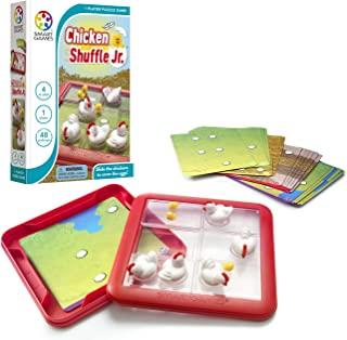 SmartGames Chicken Shuffle Jr. Travel Game for Kids, A Cognitive Skill-Building Brain Game - Brain Teaser for Ages 4 & Up, 48 Challenges