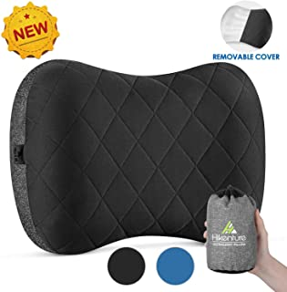 Hikenture Camping Pillow with Removable Cover - Ultralight Inflatable Pillow for Neck Lumber Support - Upgrade Backpacking Pillow - Washable Travel Air Pillows for Camping,Hiking, Backpacking
