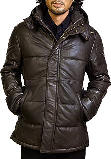 ハルフレザー Haruf Leather luld1dbr メンズ ラムレザー ダウンコート シングル ダウンジャケット ダークブラウン luld1dbr