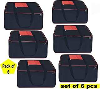 VeleSolv Storage Bags,6-Pack Large Big Underbed Blanket/Clothes/Toys/Bed Sheet Cover Bag - Black (54 * 46 * 28 cm)