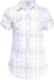 Women's Short Sleeve Plaid or Stripe Button Down Shirt Knit Top