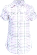 Ladies' Code Women's Short Sleeve Plaid or Stripe Button Down Shirt Knit Top