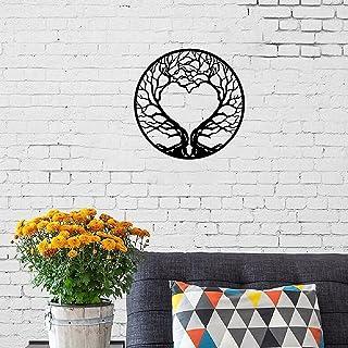 GWMWON Arbre de Vie Maison Sculpture Murale, Art Mural en métal Arbre en Forme de Coeur, décoration Murale Arbre en métal ...