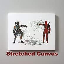 Star Wars Deadpool vs Boba Fett Bounty Hunter 11 x 14 inches Stretched Canvas Print