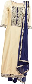 Fatiz Women's Synthetic Salwar Suit (574, Cream With Blue Borders, XL)