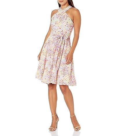 Tahari Sleeveless Criss Cross Halter Neck Dress