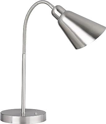 WOFI 8452.01.54.7000 A++ to E, lampe de table, métal, 25 watts, E27, nickel mat/chromé, 18 x 18 x 78 cm