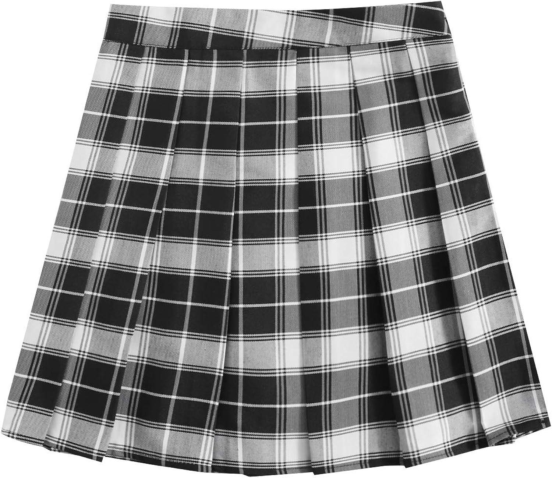 MakeMeChic Women's Plaid A Line Uniforms Skater Pleated Mini Skirt