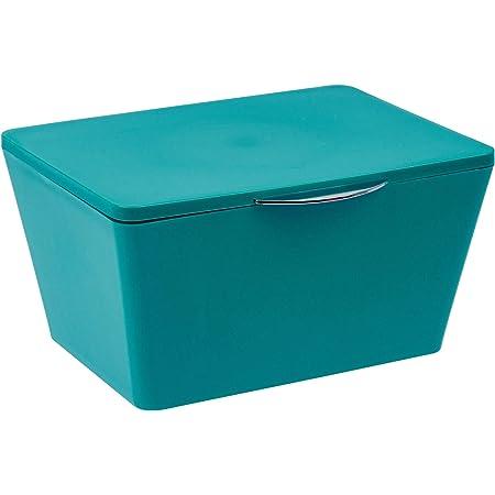 WENKO Boîte avec couvercle Brasil pétrole - Panier de rangement, panier de salle de bain avec couvercle, Plastique (TPE), 19 x 10 x 15.5 cm, Pétrole