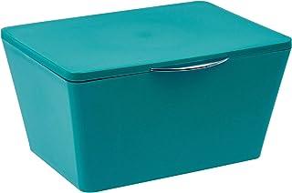 WENKO Boîte avec couvercle Brasil pétrole - Panier de rangement, panier de salle de bain avec couvercle, Plastique (TPE), ...