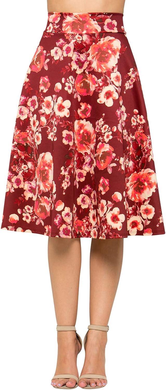 Junky Closet Women's A Line Knee Length High Waisted Skirt (Made in USA)