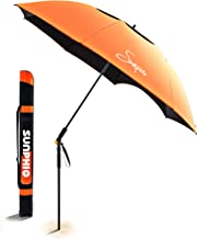 Sunphio Beach Umbrella Windproof and Heavy Duty with Vent for Travel, Excellent UV Protection, UPF 50+ with Sand Anchor, Lightweight Carry Bag, Telescoping Pole, Large Patio Sun Shade (Orange)