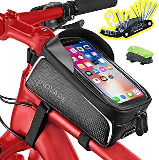 Bike Cell Phone Mount Bag Waterproof, iPhone Holder Bicycle Storage Pouch, Front Top Tube...