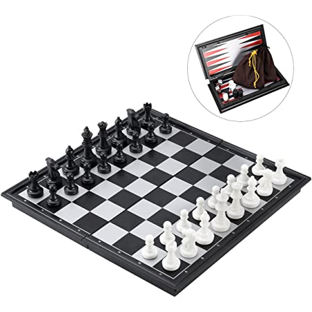 """iBaseToy 3 in 1 Magnetic Travel Chess Set for Kids and Adults, Chess Checkers Backgammon Set with Folding Portable Chess Board and Storage Bags, 9.8"""" x 9.8"""", Gift for Boys Girls"""