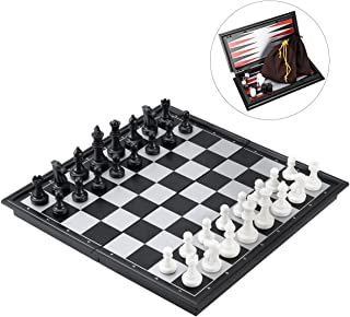 """iBaseToy 3 in 1 Magnetic Travel Chess Set for Kids and Adults, Chess Checkers Backgammon Set with Folding Chess Board and Storage Bag, Portable Traditional Chess Game Educational Toys, 9.8"""" x 9.8"""""""