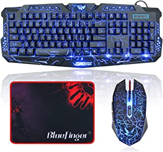 BlueFinger LED Gaming Keyboard and Mouse Mechanical Feel,USB Wired Backlit Gaming Keyboard and Mouse Combo,Letters Glow, 3 Color Crack Backlit,Illumination Keyboard and Mouse Set for Game Work