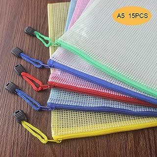 Huture 15PCS Waterproof Plastic Double Layer Zipper File Bags Invoice Pouches Bill Pencil Pouch Pen PVC Material Bags for Family School Office Supplies Storage A5 Size (5 Colors, 3PCS per Color)
