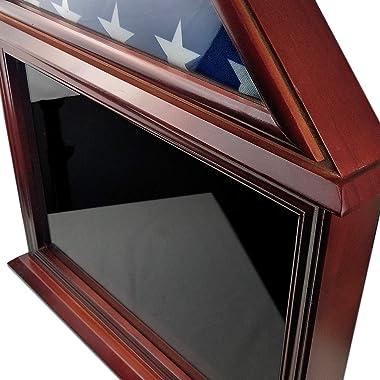 ASmileIndeep Flag Display Case Certificate & Document Holder Frame 3' X 5' Flag Military Shadow Box