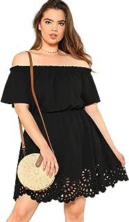 Women's Plus Size Off The Shoulder Hollowed Out Scallop Hem Party Short Dresses