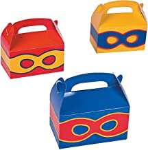 Fun Express - Superhero Treat Boxes for Birthday - Party Supplies - Containers & Boxes - Paper Boxes - Birthday - 12 Pieces