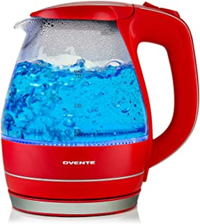 OVENTE 1.5L BPA-Free Glass Electric Kettle, Fast Heating with Auto Shut-Off and Boil-Dry Protection, Red (KG83R)