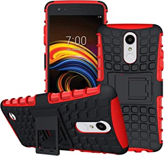 LG Aristo 3/LG Aristo 2/LG Tribute Empire/K8S/Tribute Dynasty/Phoenix 4/Zone 4/Rebel 4 LTE/K8+ Plus/Risio 3/Phoenix 3/Fortune 2/Rebel 3 Phone Case,OEAGO Tough Rugged Dual Layer Case Kickstand, Red
