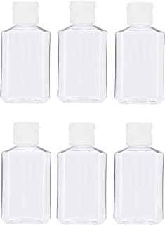 MHO Containers | Clear, Empty Refillable Flip-Top Travel Bottles - BPA/Paraben Free, 60mL/2oz- Set of 6