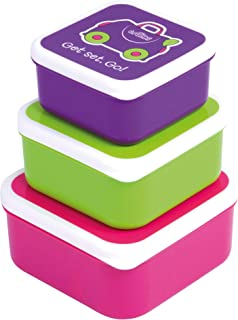 Trunki Kids Snack Pots (Set of 3) Toddler Lunch Boxes - Trixe Pink, Green, Purple