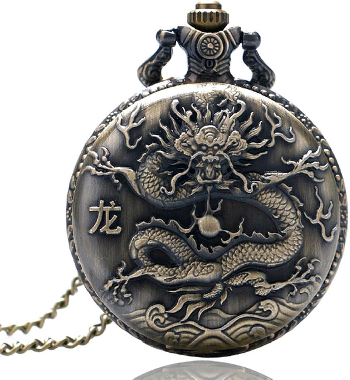 JTWMY Reloj de Bolsillo de Cuarzo con diseño de Serie del zodíaco Chino de Bronce Antiguo, Reloj de Animales, Collar, Colgante, Reloj, Cadena, dragón