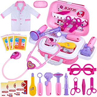GINMIC Kids Doctor Play Kit, 22 Pieces Pretend Play Doctor Set with Roleplay Doctor Costume and Carry Case for Toddlers an...