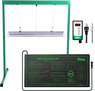 iPower GLSEEDGERMSETT52FHTMTSCV2 2Ft T5 Fluorescent Grow Light Stand Rack 10