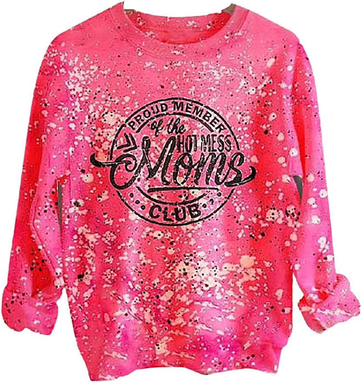 Lady Selling rankings Fashion 5% OFF Casual Tie Dye Sleeve Full Pullover Sweatshirt Roun