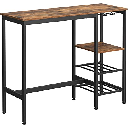 VASAGLE Table Haute, Table à Manger, Table de Bar, avec Supports pour Verres et Bouteilles, pour Salon, Cuisine, 110 x 40 x 90 cm, Style Industriel, Marron Rustique et Noir LBT013B01