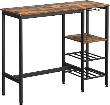 VASAGLE Table Haute, Table à Manger, Table de Bar, avec Supports pour Verres et Bouteilles, pour Salon, Cuisine, 110 x 40 x 9