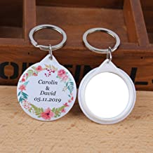 OUOK 50pcs Personalized Name Date Keychain with Mirror Custom Wedding Favors and Gifts Wedding Gifts for Guests Wedding Souvenirs,5