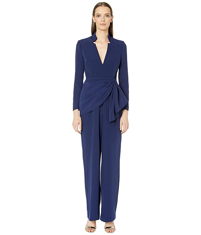 Badgley Mischka  V-Neck Crepe Jumpsuit (Sapphire) Womens Jumpsuit and Rompers One Piece