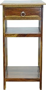 Sandeep Furniture Sheesham Wood Provincial Teak Finish Bed Side Table with Drawer