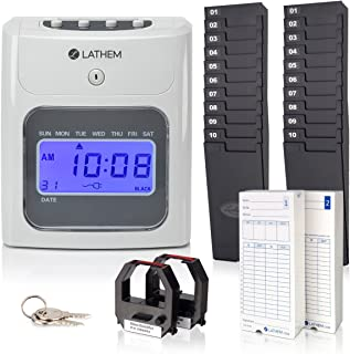Lathem 400E-KIT Top-Feed Electronic Time Clock Bundle Kit, Includes 200 Lathem E14 Time Cards, 2 Ten Pocket Time Card Rack...