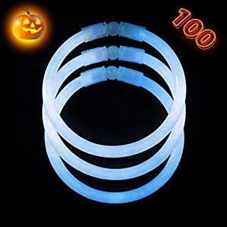 White Glow Sticks Bulk Party Supplies - 100 Glow in The Dark Bracelets - Extra Bright Party Favors - 8 Inch Bracelet Strong and Durable - Stuffers for Kids