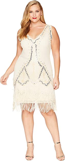 Plus Size 1920s Style Beaded Sylvie Flapper Dress
