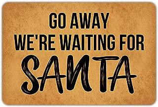 Christmas Doormat Front Door Mat Welcome Mat Go Away We're Waiting for Santa Non Slip Funny Doormat Insert Bathroom Kitchen Décor Indoor Outdoor Rug 23.6